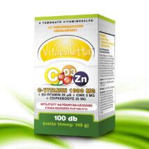Vitapaletta C-vitamin 1000 mg + D3-vitamin 25 μg + Cink 5 mg + csipkebogyó 25 mg Nyújtott hatóanyag-leadású étrend-kiegészítő filmtabletta
